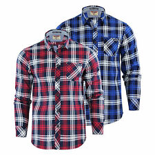 Mens Check Shirt Tokyo Laundry Carlsson Collared Cotton Flannel Casual Top