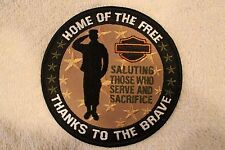 "HARLEY DAVIDSON ""HOME OF THE FREE THANKS TO THE BRAVE"" PATCH - MILITARY SALUTE"