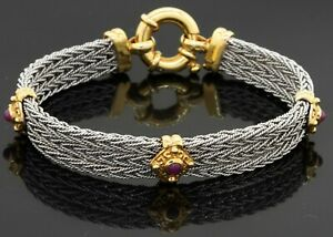 Heavy Italy 14K 2-tone gold high fashion 1.0CT ruby multi-link cable bracelet