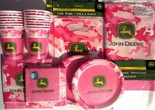 JOHN DEERE PINK Birthday Party Supply Kit w/ Loot Bags, Lunch & Beverage Napkins