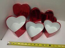 Lot of 6 sets Valentine Nesting Boxes W/Top Each Set Has 3 Red Heart Shaped boxs