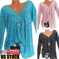 Women Long Sleeve Floral T-Shirt Tops Ladies Casual Loose V-neck Blouse Shirts