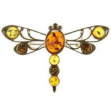 BALTIC AMBER STERLING SILVER 925 DRAGONFLY BROOCH PIN JEWELLERY JEWELRY GIFT BOX