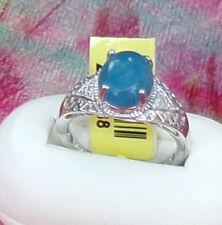 Platinum/Sterling silver  Filigree Blue Jade Diamond Ring  Size 9