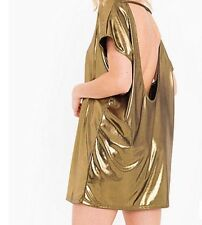Women's American Apparel Gold Metallic Jersey Tunic Shirt Dress Size XS/S NWT