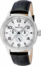 New Mens Invicta 12202 Vintage Silver Dial Black Leather Watch