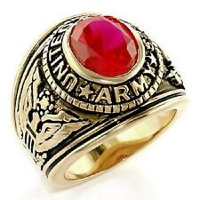 18K EP GOLD  US ARMY MILITARY INLAY RING sz 11 or V 1/2 RUBY