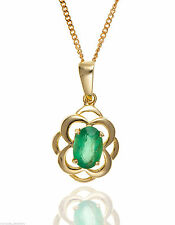 Emerald 9 Carat Yellow Gold Fine Necklaces & Pendants