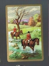 Playing Swap Cards 1 VINT  OFF TO THE HUNT  HORSES RIDERS DOGS  STREAM    W524