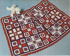 Crochet Pattern ~ Granny Square Blocks Baby Afghan ~ Instructions