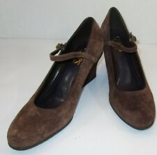 CHAPS Womens Adele Brown Suede Leather Wedge Heels Ankle Strap Shoes Size 6.5 B