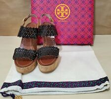 Tory Burch Floral Perforated Wedge Sandal - Size 7.5 Womens - Black/Royal Tan