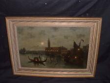 Original Oil Painting on Board signed A. BONETTI Night Scene in Venice Italy
