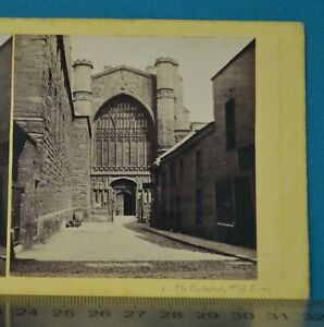 1860s Stereoview Photo Chester Illustrated Cathedral West Front Francis Bedford