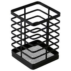 Black Flat Iron Metal Utensil Holder Drying Drainer Rack Stand Storage Organiser