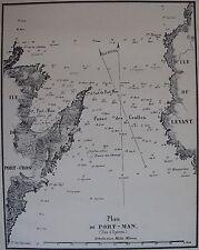 PLAN DE PORT MAN, ILES HYERES,1862, GAUTTIER, PLANS PORTS RADES MER MEDITERRANEE