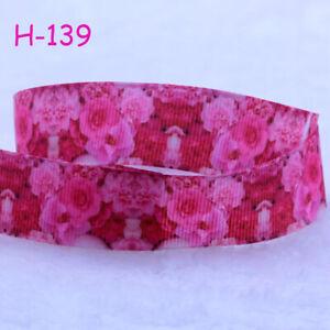 5/10Yards 7/8'' (22mm) Rose Flower Printed Grosgrain Ribbon DIY Hair Bow Craft