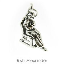 925 Sterling Silver Mother with Baby in Rocking Chair Charm Made in USA