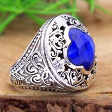Designer Checkered Sapphire Gemstone 925 Sterling Silver Ring Size US 7.5