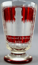 Mid 19th Century German Bohemian Engraved Tower Ruby Stained Flint Glass Tumbler