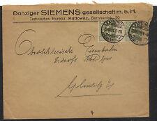 Upper Silesia  #23  gutter pair  on  cover   1921          KL0404