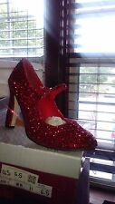 RED GLITTER 5 INCH HEEL DOROTHY SHOES, SIZE 8, HIGHEST HEEL COLLECTION, DISCONTI