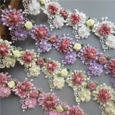 1 Yard White Pearl Rose Flower Embroidered Lace Trim DIY