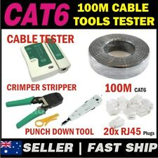 100m Black Cat 6 Cat6 Network Ethernet LAN Cable Kit Crimper Punch Tester Plugs