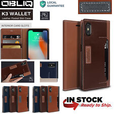 OBLIQ® [K3 Wallet Case] Luxury Leather 4 Credit Cards Cover For Apple iPhone X