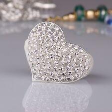 LARGE SILVER TONE HEART DIAMANTE RHINESTONE CRYSTAL WEDDING/PARTY BROOCH