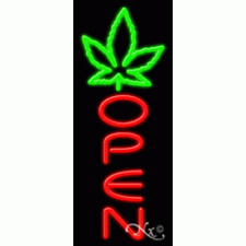 "New ""Open"" w/Leaf Symbol 32x13 Vertical Real Neon Sign W/Custom Options 11589"