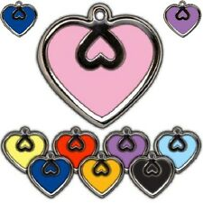 Heart Shape Silver/Colour Border Personalised Engraved Tags Dog Cat Pet ID Disc