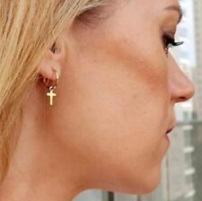 Dainty Cross Earrings, Huggie earrings, 14K Gold Filled Hoops, Christmas gift