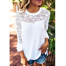 Summer Women Long Sleeve Shirt Casual Lace Blouse Loose Cotton Top T Shirt #