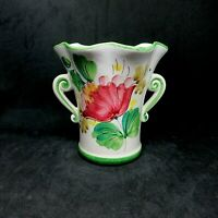 Vintage 1970 Floral Vase Italian Hand Painted Scalloped Rim Double Handled FTD