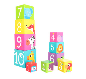 Baby Toddler Wild Animals Chunky Stacking Building Cubes Bright Colours 10 Piece