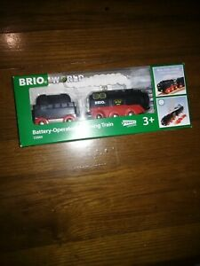 Brio World Wooden Railway Battery Operated Steaming Train  #33884, New