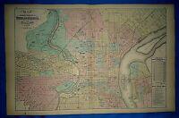 Vtg 1872 Atlas Map ~ PHILADELPHIA, PENNSYLVANIA ~ Old Antique Authentic Free S&H