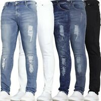 Mens Skinny Jeans Stretch Fit Rip And Repair Ripped Denim Jeans Waist VOID JEANS