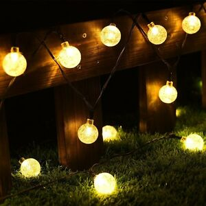 Solar String Led Lights Fairy Crystal Ball For Garden Decor Party 30 LED 20ft