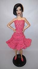 """Vestido Rosa Crochet Ropa Barbie, Fashion Royalty, Poppy Parker, Dolls 12"""" New"""