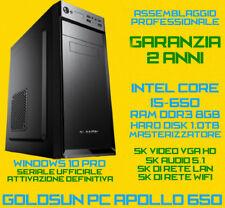 COMPUTER ASSEMBLATO PC DESKTOP INTEL Core i5-650 RAM 8GB HDD 1TB DVD-RW PSU700W