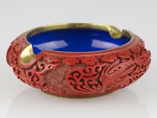 Hand Carved Pheasant Cinnabar Lacquer Ashtray