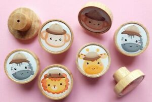 4x Knobs Safari Animals Printed Wood Beech handle drawer cupboard furniture Kids
