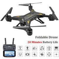 Foldable WIFI FPV RC Quadcopter Drone with 1080P 5.0MP Camera Selfie Drone Black