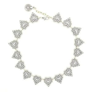 Tibetan Lace Carved Silver Coin Link Choker Charm Necklace. Boho Gypsy Jewellery