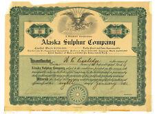 Alaska Sulphur Company. Preferred Stock Certificate. 1921