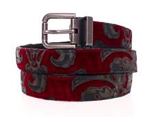 Dolce & Gabbana Red Velvet Baroque Leather Belt 105CM