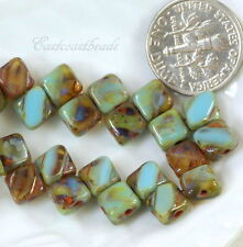 2 Hole Silky Square Tile Glass Beads, Turquoise & Amber, Czech, 25 Pieces, 6mm