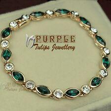 18CT Rose Gold Plated Elegant Emerald Bracelet Made With SWAROVSKI CRYSTALS